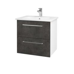 Dreja - Kúpeľňová skriňa GIO SZZ2 60 - N01 Bílá lesk / Úchytka T04 / D16 Beton tmavý (202026E)