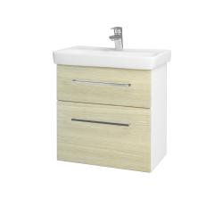 Dreja - Kúpeľňová skriňa GO SZZ2 60 - N01 Bílá lesk / Úchytka T04 / D04 Dub (27967E)