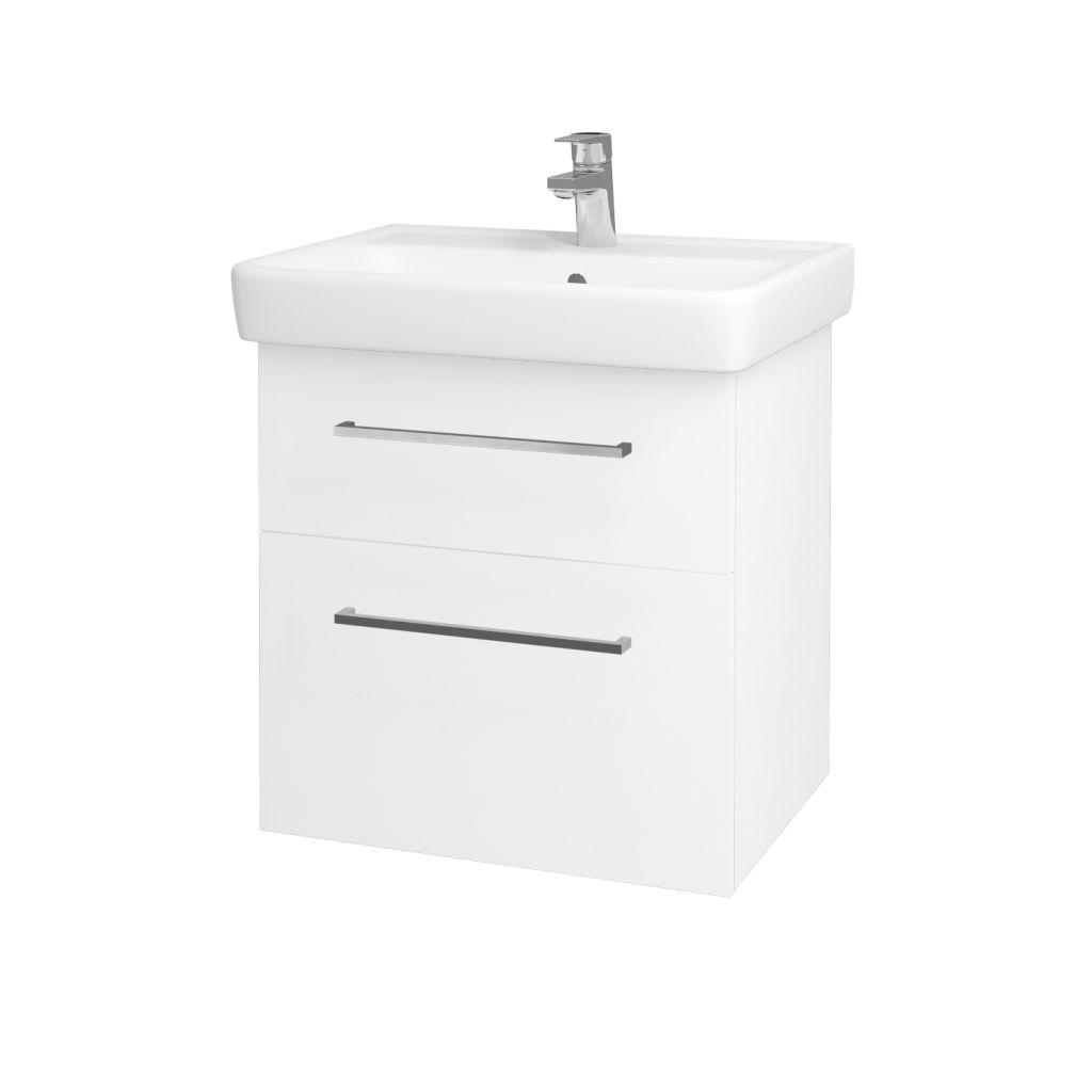 Dreja - Kúpeľňová skriňa Q MAX SZZ2 60 - N01 Bílá lesk / Úchytka T04 / L01 Bílá vysoký lesk 60117E