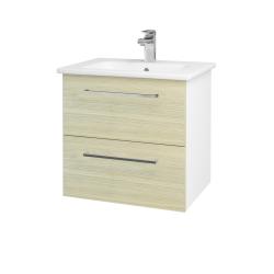Dreja - Kúpeľňová skriňa GIO SZZ2 60 - N01 Bílá lesk / Úchytka T04 / D04 Dub (82775E)