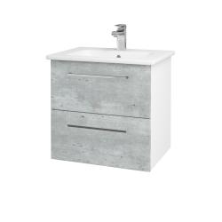 Dreja - Kúpeľňová skriňa GIO SZZ2 60 - N01 Bílá lesk / Úchytka T04 / D01 Beton (82829E)