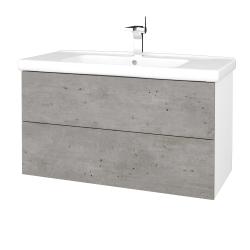 Dreja - Kúpeľňová skriňa VARIANTE SZZ2 100 (umývadlo Harmonia) - N01 Bílá lesk / D21 Tobacco (259075)