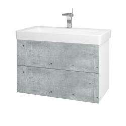Dreja - Kúpeľňová skriňa VARIANTE SZZ2 85 - N01 Bílá lesk / D21 Tobacco (259402)