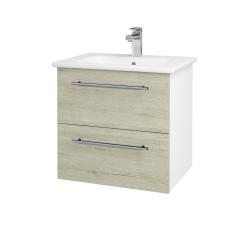 Dreja - Kúpeľňová skriňa GIO SZZ2 60 - N01 Bílá lesk / Úchytka T02 / D21 Tobacco (277215B)