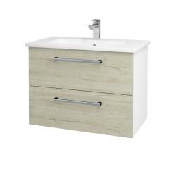 Dreja - Kúpeľňová skriňa GIO SZZ2 80 - N01 Bílá lesk / Úchytka T03 / D21 Tobacco (277253C)