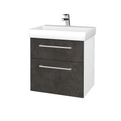 Dreja - Kúpeľňová skrinka PROJECT SZZ2 60 - N01 Bílá lesk / Úchytka T03 / D16 Beton tmavý (322687C)