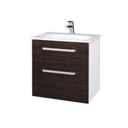Dreja - Kúpeľňová skrinka PROJECT SZZ2 60 - N01 Bílá lesk / Úchytka T01 / D08 Wenge (328450A)