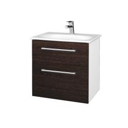 Dreja - Kúpeľňová skrinka PROJECT SZZ2 60 - N01 Bílá lesk / Úchytka T03 / D08 Wenge (328450C)