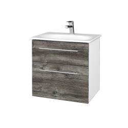 Dreja - Kúpeľňová skrinka PROJECT SZZ2 60 - N01 Bílá lesk / Úchytka T02 / D10 Borovice Jackson (328474B)