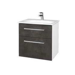 Dreja - Kúpeľňová skrinka PROJECT SZZ2 60 - N01 Bílá lesk / Úchytka T04 / D16 Beton tmavý (328498E)