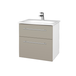 Dreja - Kúpeľňová skrinka PROJECT SZZ2 60 - N01 Bílá lesk / Úchytka T02 / L04 Béžová vysoký lesk (328559B)