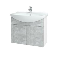 Dreja - Kúpeľňová skriňa TAKE IT SZD2 75 - N01 Bílá lesk / Úchytka T05 / D01 Beton (152017F)