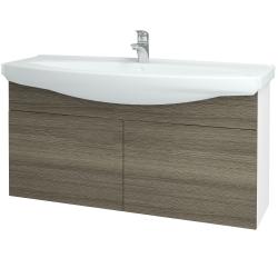 Dreja - Kúpeľňová skriňa TAKE IT SZD2 120 - N01 Bílá lesk / Úchytka T05 / D03 Cafe (152307F)