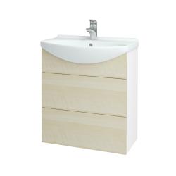 Dreja - Kúpeľňová skriňa TAKE IT SZZ2 65 - N01 Bílá lesk / Úchytka T05 / D02 Bříza (152833F)