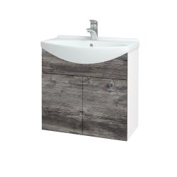 Dreja - Kúpeľňová skriňa TAKE IT SZD2 65 - N01 Bílá lesk / Úchytka T05 / D10 Borovice Jackson (205881F)