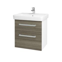 Dreja - Kúpeľňová skriňa Q MAX SZZ2 60 - N01 Bílá lesk / Úchytka T03 / D21 Tobacco (275600C)