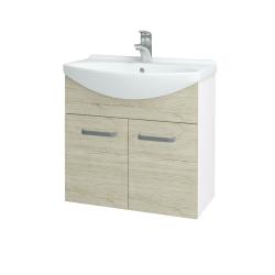 Dreja - Kúpeľňová skriňa TAKE IT SZD2 65 - N01 Bílá lesk / Úchytka T05 / D21 Tobacco (279356F)