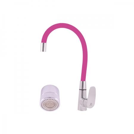 SLEZAK-RAV - Vodovodní baterie dřezová s flexibilním ramínkem s dvoupolohovým perlátorem AMUR, Barva: chrom/růžová, Rozměr: 3/8'' (AM719.0/11R)