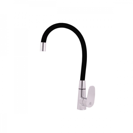 SLEZAK-RAV - Vodovodní baterie dřezová s flexibilním ramínkem AMUR, Barva: chrom/černá, Rozměr: 1/2'' (AM719.5/10C)