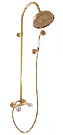 SLEZAK-RAV - Vodovodní baterie sprchová BRILLIANCE s hlavovou a ruční sprchou , Barva: stará mosaz, Rozměr: 150 mm (BRILLIANCE181.5/3SM)