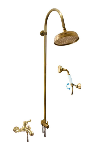 SLEZAK-RAV - Vodovodné batérie vaňová LABE - STARÁ MOSADZ s hlavovou a ručnou sprchou, Farba: stará mosadz, Rozmer: 150 mm L054.5 / 3SM