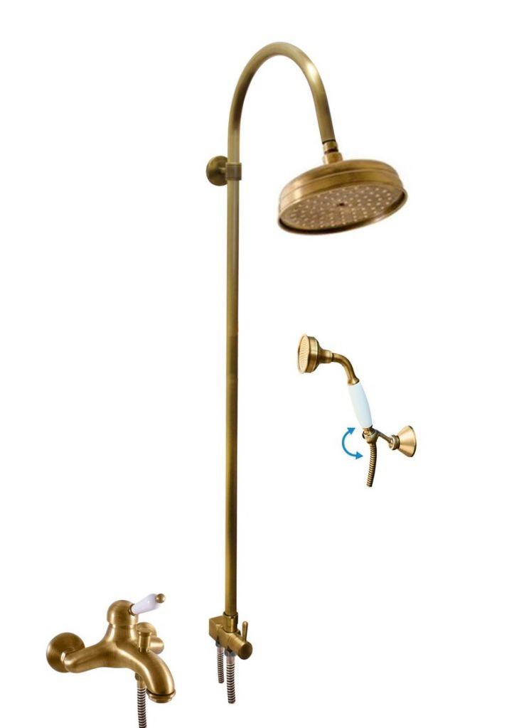 SLEZAK-RAV - Vodovodné batérie vaňová LABE - STARÁ MOSADZ s hlavovou a ručnou sprchou, Farba: stará mosadz, Rozmer: 150 mm L554.5 / 3SM