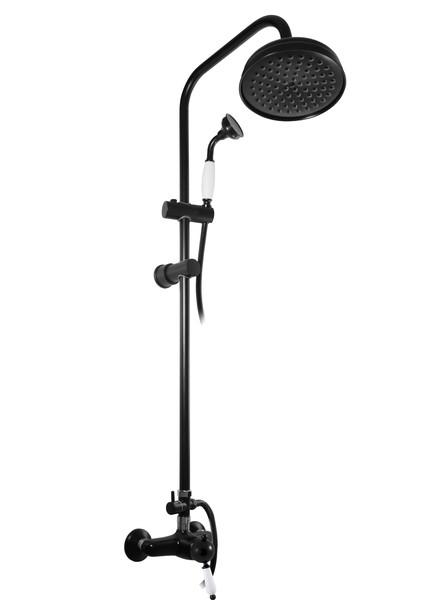 SLEZAK-RAV - Vodovodné batérie sprchová LABE s hlavovou a ručnou sprchou, Farba: čierna matná / chróm, Rozmer: 150 mm L581.5 / 3CMATC