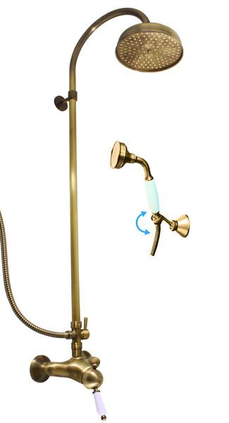 SLEZAK-RAV - Vodovodné batérie sprchová LABE - STARÁ MOSADZ s hlavovou a ručnou sprchou, Farba: stará mosadz, Rozmer: 150 mm L581.5 / 3SM