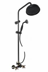 SLEZAK-RAV - Vodovodní baterie sprchová MORAVA RETRO s hlavovou a ruční sprchou , Barva: černá matná/stará mosaz, Rozměr: 100 mm (MK181.0/3CMATSM)
