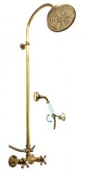 SLEZAK-RAV - Vodovodní baterie sprchová MORAVA RETRO STARÁ MOSAZ s hlavovou a ruční sprchou , Barva: stará mosaz, Rozměr: 100 mm (MK181.0/3SM)