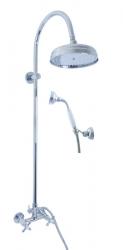 SLEZAK-RAV - Vodovodní baterie sprchová MORAVA RETRO s hlavovou a ruční sprchou, Barva: chrom, Rozměr: 150 mm (MK181.5/3)