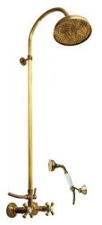 SLEZAK-RAV - Vodovodní baterie sprchová MORAVA RETRO STARÁ MOSAZ s hlavovou a ruční sprchou , Barva: stará mosaz, Rozměr: 100 mm (MK381.0/3SM)