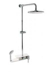 SLEZAK-RAV - Vodovodní baterie sprchová s hlavovou a ruční sprchou MURRAY, Barva: chrom/bílá, Rozměr: 150 mm (MU080.5/3)