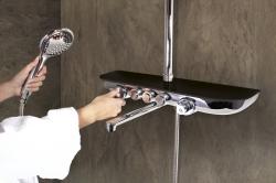 SLEZAK-RAV - Vodovodní baterie vanová/sprchová s pevnou tyčí, hlavovou a ruční sprchou, police CORRALIT černá MURRAY NEW, Barva: CORRALIT/černá/pevná tyč (MU253.5/4KC)