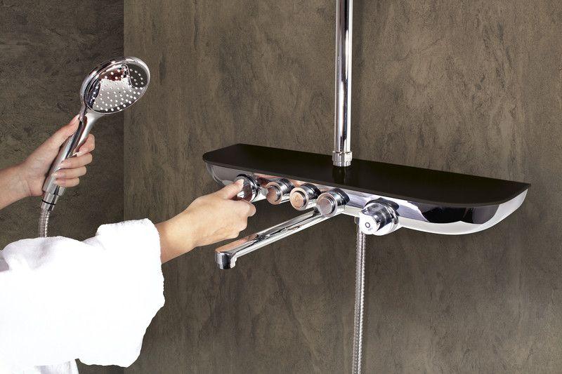 SLEZAK-RAV - Vodovodné batérie vaňová / sprchová s teleskopickou tyčou, hlavovou a ručnou sprchou, police SKLO LACOBEL čierna metalíza MURRAY NEW, Farba: sklo / čierna metalíza / teleskopická tyč MU253.5 / 5SC