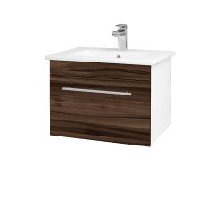 Dreja - Kúpeľňová skriňa ASTON SZZ 60 - N01 Bílá lesk / Úchytka T02 / D06 Ořech (130930B)