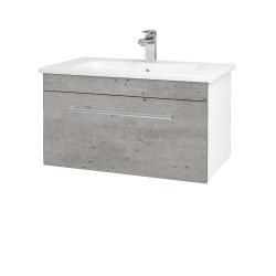 Dreja - Kúpeľňová skriňa ASTON SZZ 80 - N01 Bílá lesk / Úchytka T03 / D01 Beton (130954C)