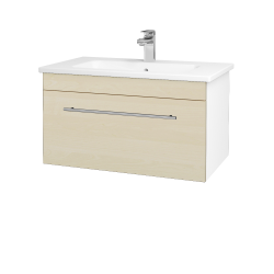 Dreja - Kúpeľňová skriňa ASTON SZZ 80 - N01 Bílá lesk / Úchytka T02 / D02 Bříza (130961B)