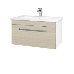 Dreja - Kúpeľňová skriňa ASTON SZZ 80 - N01 Bílá lesk / Úchytka T01 / D04 Dub (130985A)