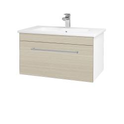 Dreja - Kúpeľňová skriňa ASTON SZZ 80 - N01 Bílá lesk / Úchytka T03 / D04 Dub (130985C)