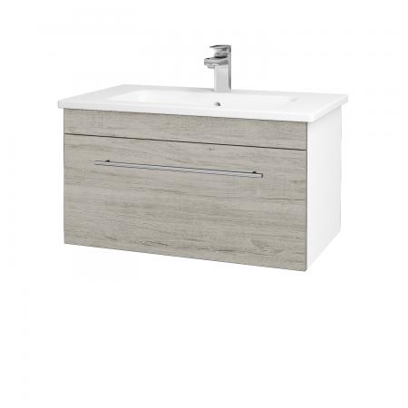 Dreja - Kúpeľňová skriňa ASTON SZZ 80 - N01 Bílá lesk / Úchytka T02 / D05 Oregon (130992B)