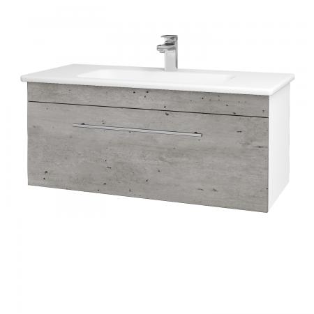 Dreja - Kúpeľňová skriňa ASTON SZZ 100 - N01 Bílá lesk / Úchytka T02 / D01 Beton (131029B)