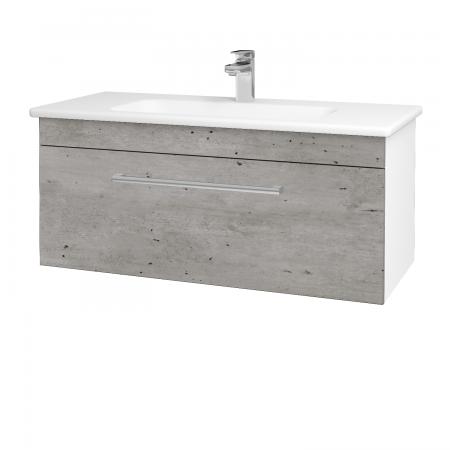 Dreja - Kúpeľňová skriňa ASTON SZZ 100 - N01 Bílá lesk / Úchytka T03 / D01 Beton (131029C)