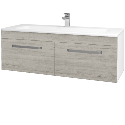 Dreja - Kúpeľňová skriňa ASTON SZZ2 120 - N01 Bílá lesk / Úchytka T01 / D05 Oregon (131203A)