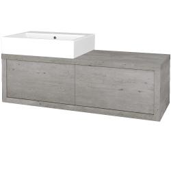 Dreja - Kúpeľňová skriňa STORM SZZ2 120 (umývadlo Kube) - D01 Beton / D01 Beton / Levé (169541)