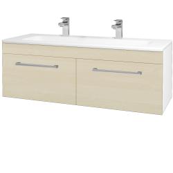 Dreja - Kúpeľňová skriňa ASTON SZZ2 120 - N01 Bílá lesk / Úchytka T03 / D02 Bříza (131173CU)