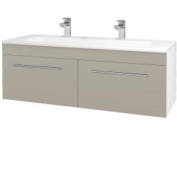 Dreja - Kúpeľňová skriňa ASTON SZZ2 120 - N01 Bílá lesk / Úchytka T02 / L04 Béžová vysoký lesk (146894BU)