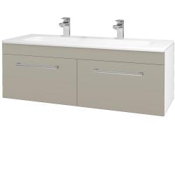 Dreja - Kúpeľňová skriňa ASTON SZZ2 120 - N01 Bílá lesk / Úchytka T03 / L04 Béžová vysoký lesk (146894CU)