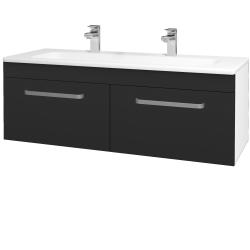 Dreja - Kúpeľňová skriňa ASTON SZZ2 120 - N01 Bílá lesk / Úchytka T01 / L03 Antracit vysoký lesk (131616AU)