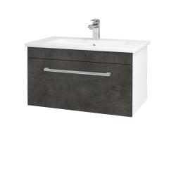Dreja - Kúpeľňová skriňa ASTON SZZ 80 - N01 Bílá lesk / Úchytka T03 / D16 Beton tmavý (199333C)